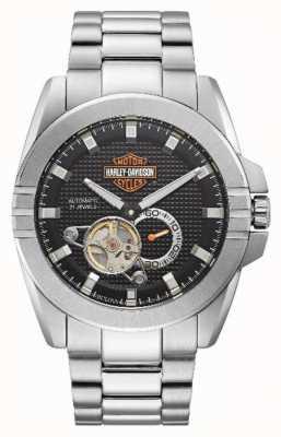 Harley Davidson Accélérateur automatique pour hommes | bracelet en acier inoxydable 76A166