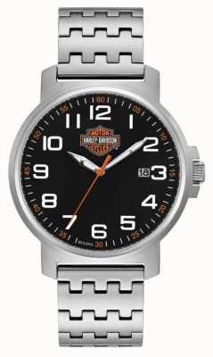 Harley Davidson Bracelet homme en acier inoxydable | cadran noir facile à lire 76B187