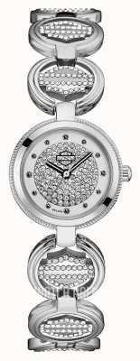 Harley Davidson Bracelet à maillons en cristal pour femme | cadran en cristal 76L179