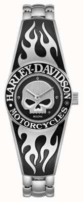 Harley Davidson Cadran crâne willie g flamboyant pour femme | bracelet jonc en acier inoxydable 76L190