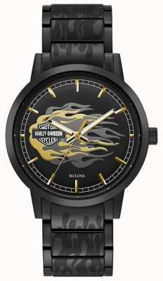 Harley Davidson Flammes d'hommes | bracelet en acier noir | cadran noir 78A121