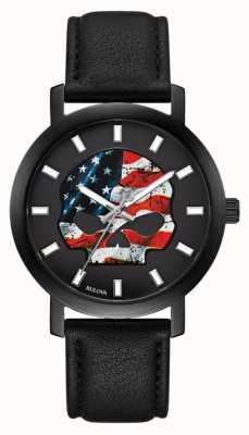 Harley Davidson Drapeau américain pour hommes Willie G | bracelet en cuir noir 78A122