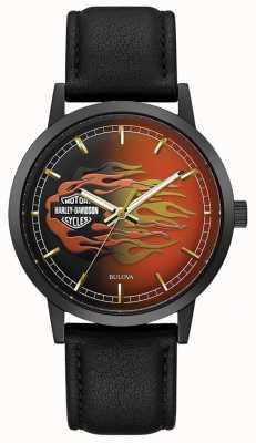 Harley Davidson Flammes métalliques pour hommes | bracelet en cuir noir | cadran de flamme 78A123