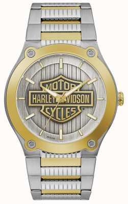 Harley Davidson Bracelet homme en acier bicolore | cadran argenté 78A125