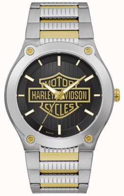 Harley Davidson Bracelet homme en acier bicolore | cadran noir 78A126