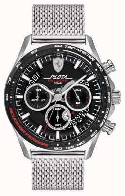 Scuderia Ferrari Pilota evo pour hommes | bracelet en maille d'acier argenté | cadran noir 0830826