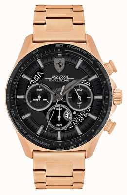 Scuderia Ferrari Pilota evo pour hommes | bracelet en acier plaqué or rose | cadran noir 0830825