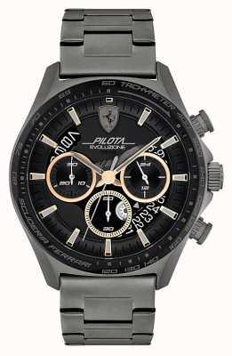Scuderia Ferrari Pilota evo pour hommes | bracelet en acier ip gris | cadran noir 0830824