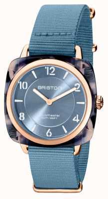 Briston Clubman chic | cadran bleu 36 mm en or rose | bracelet nato bleu 21536.PRA.UB.25.NIB