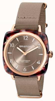 Briston Clubman chic | cadran taupe 36 mm en or rose | bracelet nato taupe 21536.PRA.UBR.30.NT