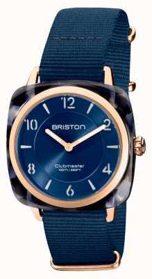 Briston Clubman chic | cadran bleu marine 36 mm en or rose | bracelet nato bleu marine 21536.PRA.UB.33.NMB