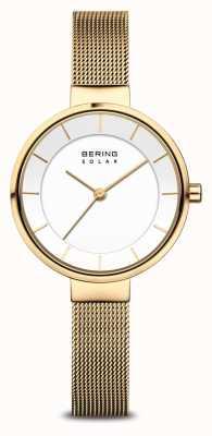 Bering Montre bracelet en maille plaqué or pour femme Solar 14631-324