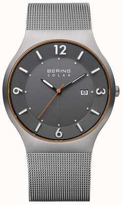 Bering Solaire | hommes | bracelet en maille d'acier gris 14440-073-A