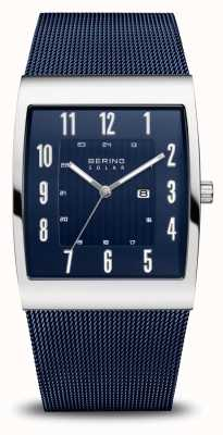 Bering Solaire | hommes | argent poli | bracelet en maille bleue 16433-307
