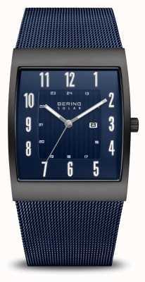 Bering Solaire | hommes | noir brossé | bracelet en maille bleue 16433-327