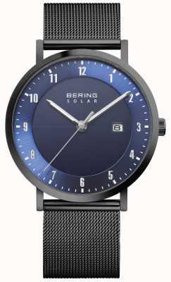 Bering Montre solaire pour homme avec bracelet en maille noire et date 15439-327