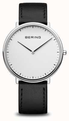Bering Montre classique unisexe à bracelet en cuir noir 15739-404