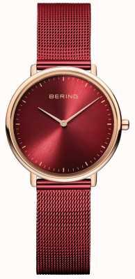 Bering Montre classique pour femme rouge et or rose 15729-363