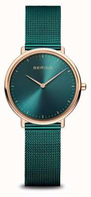 Bering Montre classique en or rose et vert pour femme 15729-868