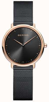 Bering Montre classique en maille noire pour femme 15729-166