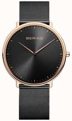 Bering Montre classique unisexe noire et or rose 15739-166