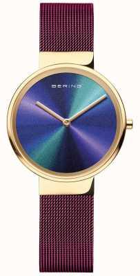 Bering Classique | femmes | maille violette | cadran multicolore 19031-929