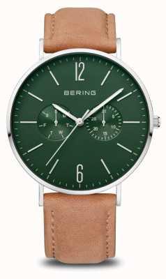 Bering Classique | hommes | argent poli | bracelet en cuir marron 14240-608