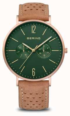Bering Classique | hommes | or rose mat | bracelet en cuir marron 14240-668