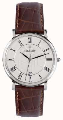 Michel Herbelin Classique | 38mm | cadran blanc | bracelet en cuir marron 12248/08MA