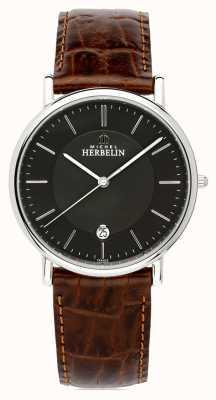 Michel Herbelin Hommes classiques | bracelet en cuir marron | cadran noir 12248/14MA