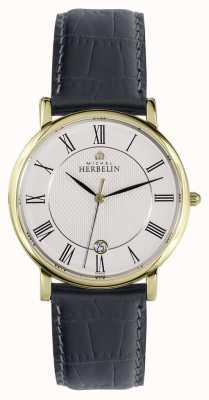 Michel Herbelin Classique | 38mm | cadran blanc | bracelet en cuir noir 12248/P08