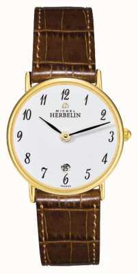 Michel Herbelin Sonates | 26mm | cadran blanc | bracelet en cuir marron 16845/P28GO