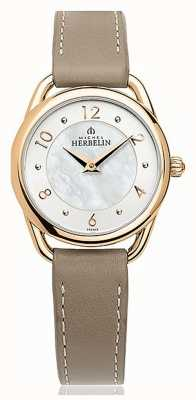 Michel Herbelin Équinoxe | cadran en nacre | bracelet en cuir taupe 17497/PR29GR