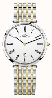 Michel Herbelin Epsilon | cadran blanc | bracelet en acier bicolore 19416/BT01N