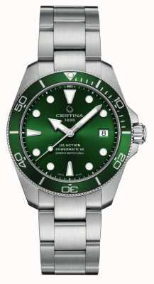 Certina Ds action diver | cadran vert | bracelet en acier inoxydable C0328071109100
