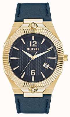 Versus Versace Montre bracelet en cuir bleu Echo Park VSP1P0221