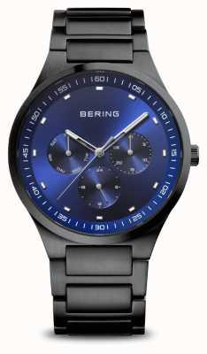 Bering Classique | hommes | noir brossé | cadran bleu 11740-727