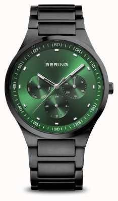Bering Classique | hommes | noir brossé | cadran vert 11740-728