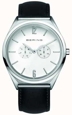 Bering Classique | unisexe | bracelet en cuir noir | cadran blanc 17140-404