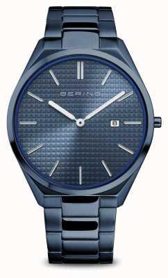 Bering Ultra mince | hommes | bleu poli / brossé | cadran bleu 17240-797