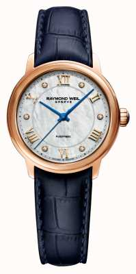Raymond Weil Maestro des femmes | bracelet en cuir bleu | cadran en nacre 2131-P53-00966
