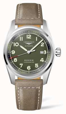 Longines Bracelet en cuir à cadran vert esprit L38114032