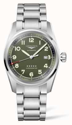 Longines Bracelet en acier inoxydable à cadran vert mat Spirit L38114036