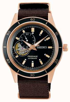 Seiko Bracelet en nylon marron style Presage des années 60 SSA426J1