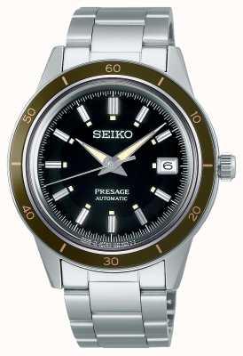 Seiko Bracelet en acier à cadran noir style Presage des années 60 SRPG07J1