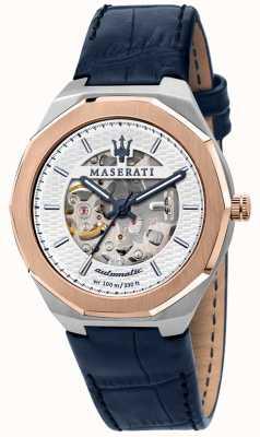 Maserati Stile homme automatique | bracelet en cuir bleu | cadran squelette argenté R8821142001