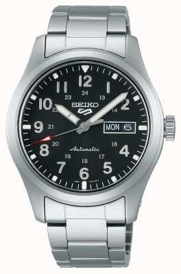 Seiko 5 terrains de sport cadran noir bracelet en acier inoxydable SRPG27K1
