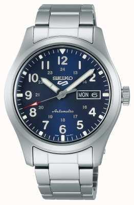 Seiko Bracelet en acier inoxydable avec cadran bleu 5 terrains de sport SRPG29K1