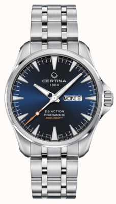 Certina Ds action day-date powermatic 80 cadran bleu C0324301104100