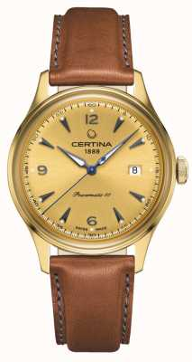 Certina Bracelet cuir Ds powermatic 80 cadran doré C0384073636700